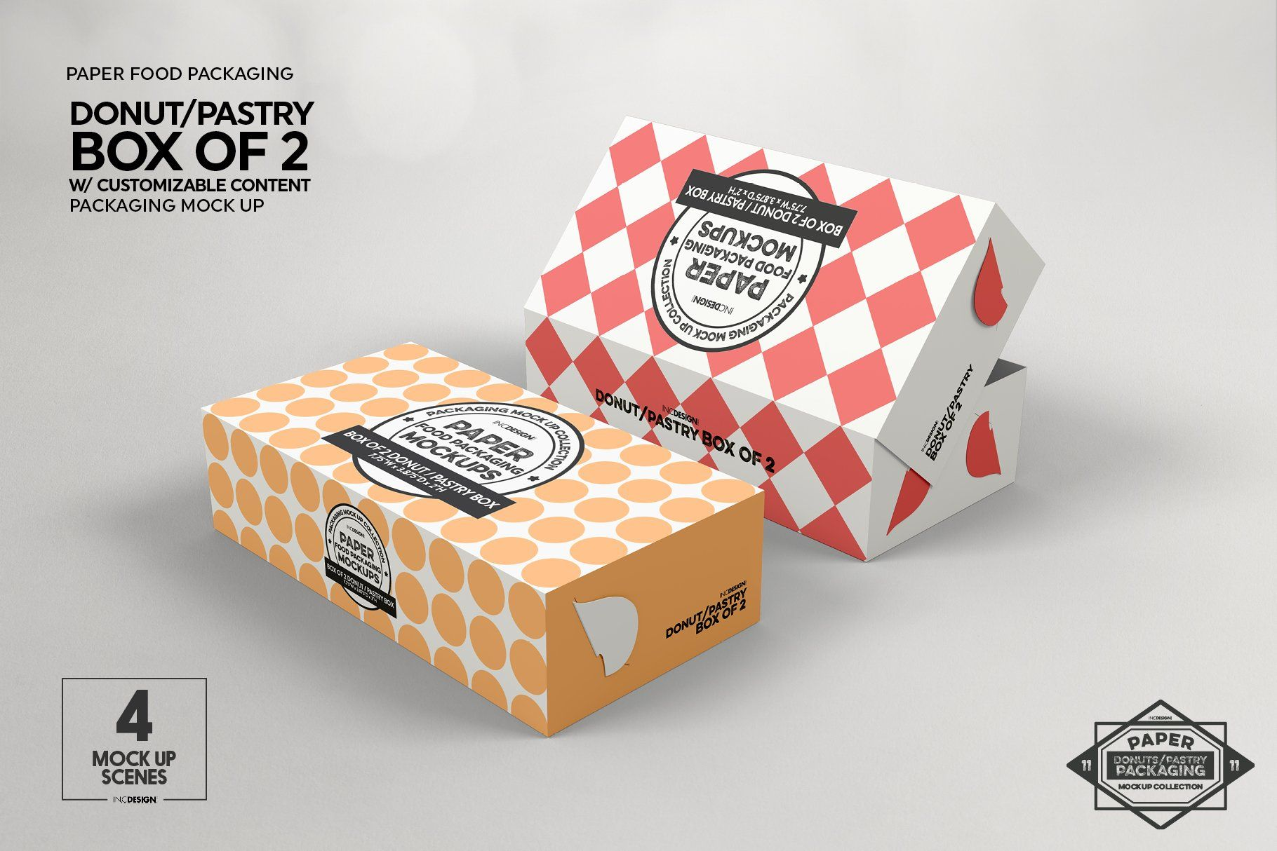 Download Box Of Two Donut Pastry Box Mockup Food Box Packaging Box Mockup Food Packaging