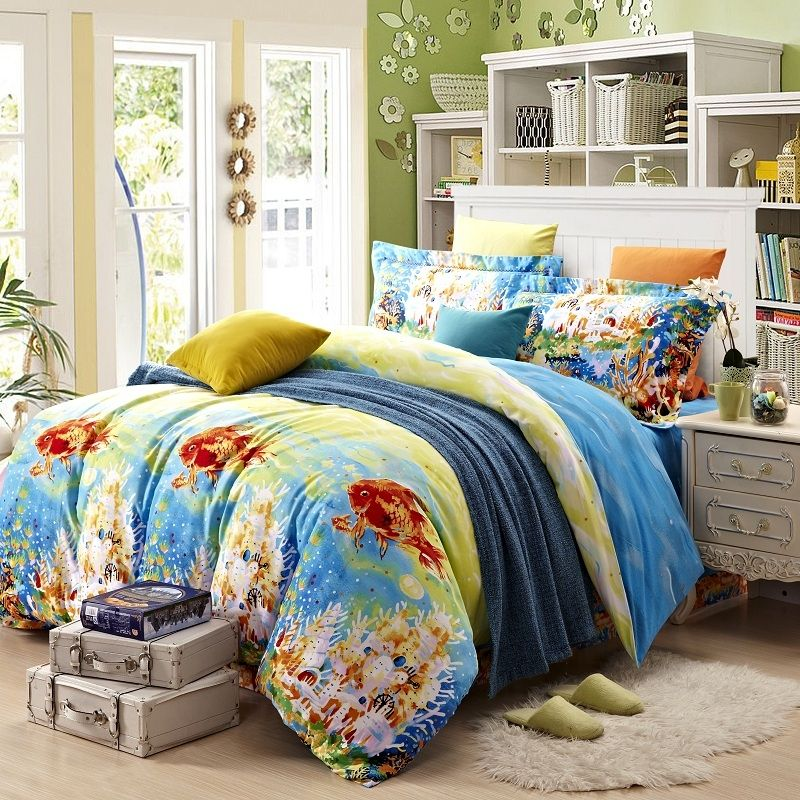 Aqua Blue Burnt Orange And Yellow Hawaiian Style Tropical Holiday Goldfish And Coral Reef Print 100 Brushed Cotton Full Size Be Bedding Sets Full Size Bed Bed