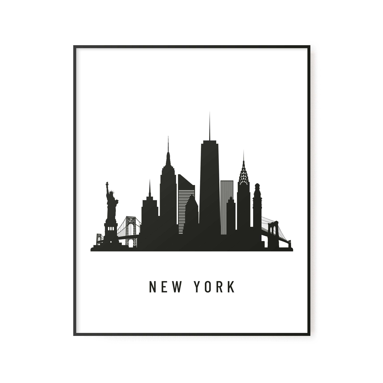 New York City Skyline Black And White New York Printable Etsy Travel Wall Art New York Illustration City Skyline