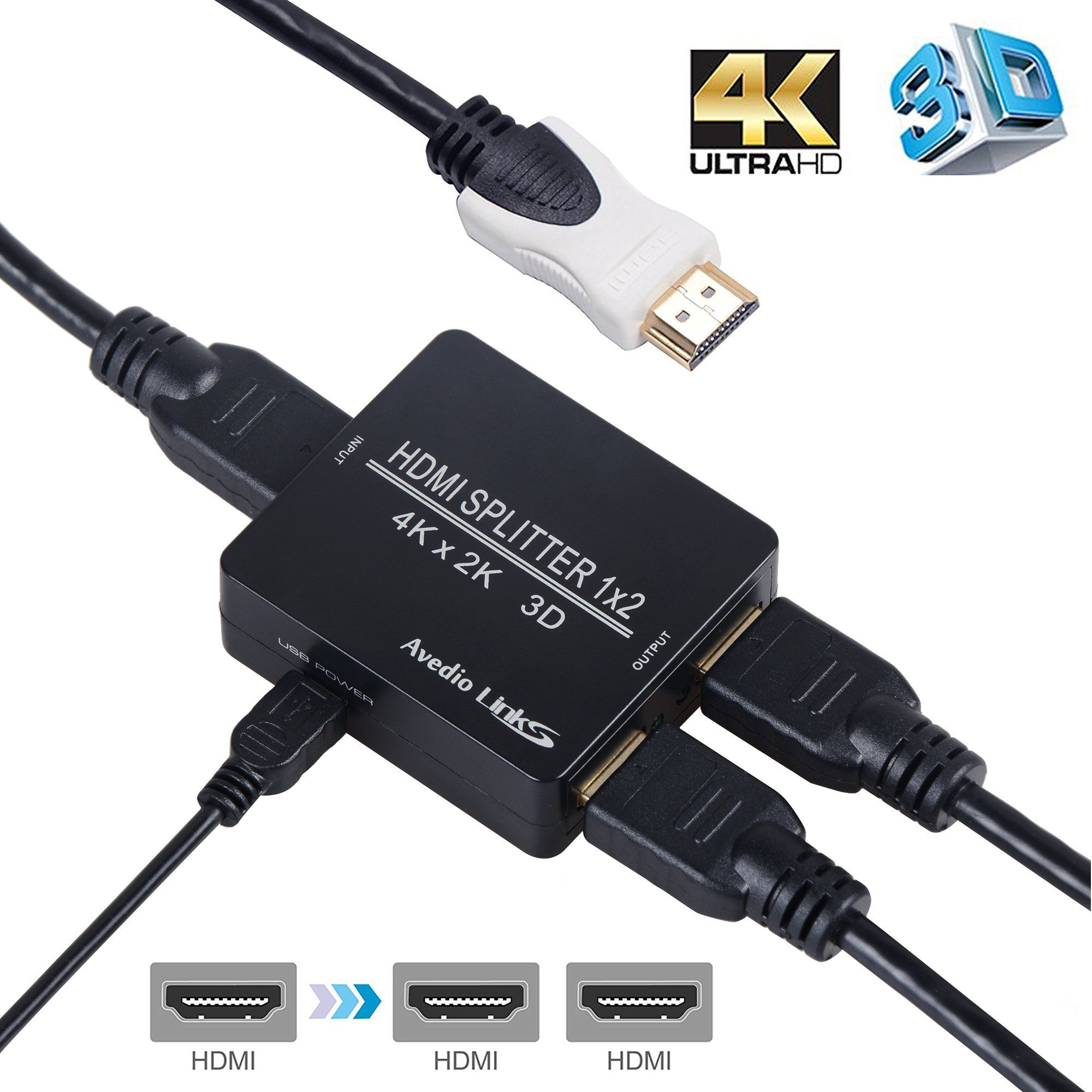 Hdmi Splitter 1 In 2 Out Avedio Links 4k Hdmi Splitter 1x2 With High Speed Hdmi Cable 1 Source To 2 Monitors Usb Cord For Xbox Hdmi Splitter Hdmi Cables Hdmi