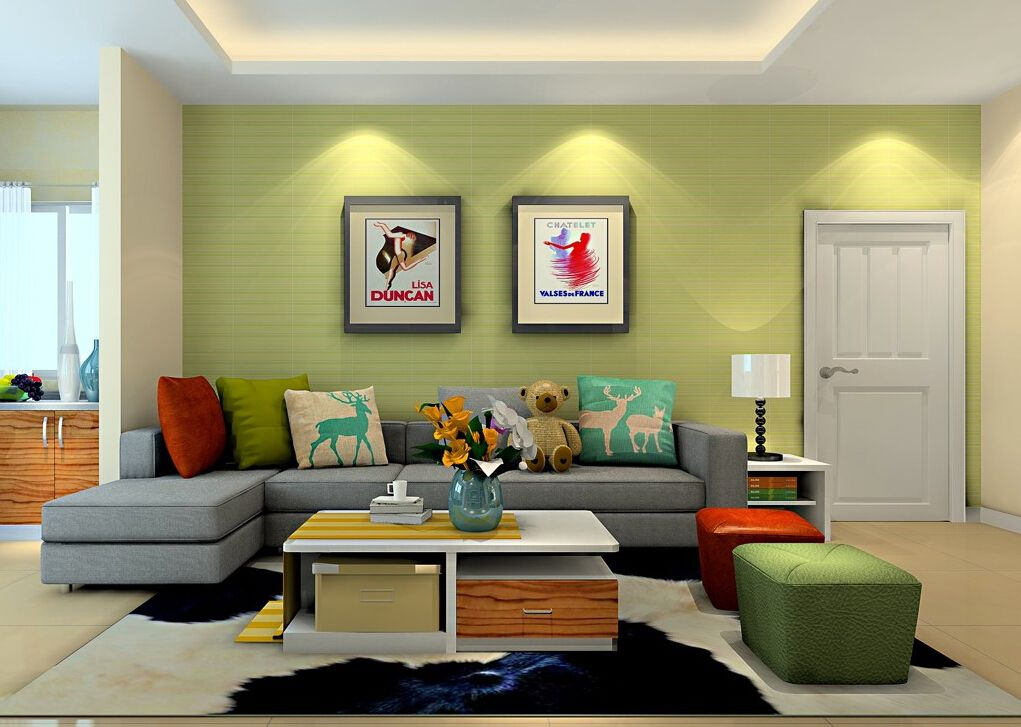 living room green sectional  Bright green wall living