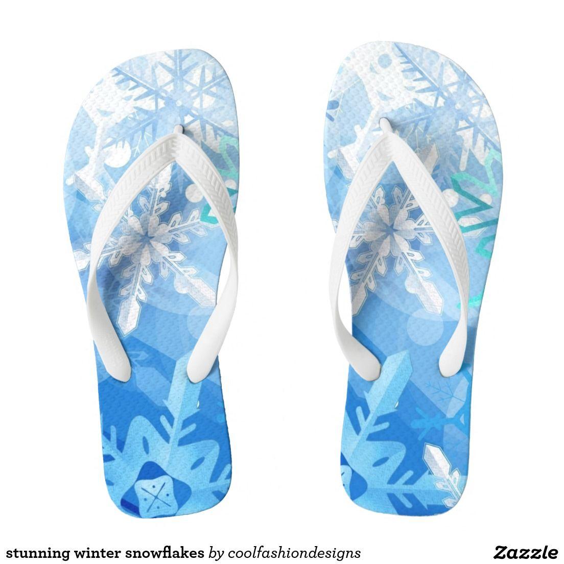stunning winter snowflakes flip flops