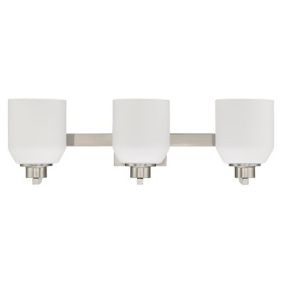 Features:  -Number of lights: 3.  -Comes with opal glass shade.  -Indoor dry rated.  -Certification: UL/CUL.  -Bulb type: 100W Medium incandescent bulb (not included).  Product Type: -Vanity light.  F