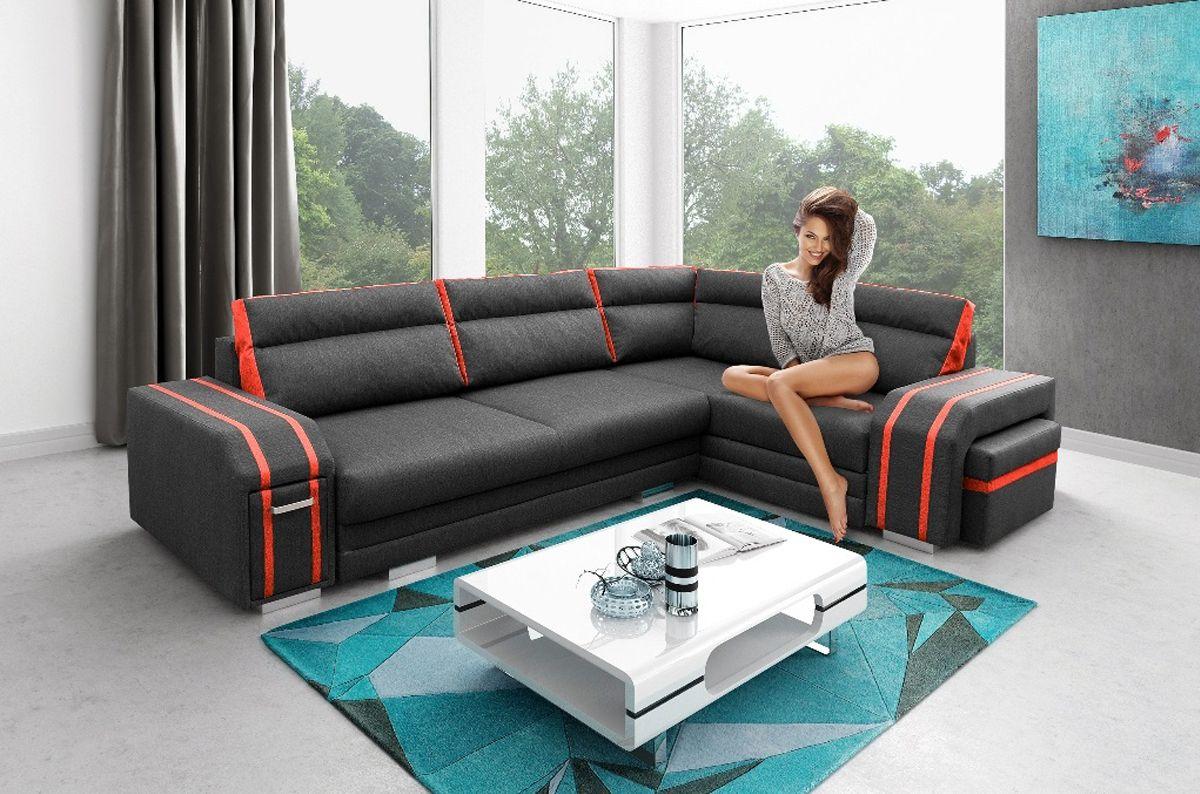 Details Zu ECKSOFA Couch Mit Schlaffunktion Eckcouch Polstergarnitur NEUES DESIGN