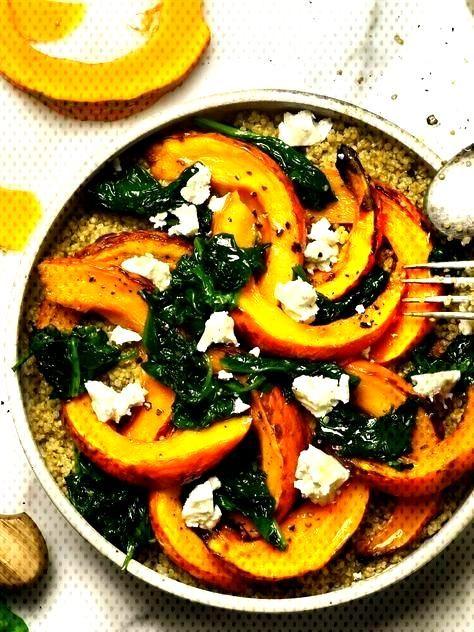 Recipe quinoa with pumpkin and fresh spinach - recette automne -