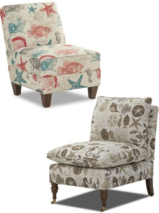 Coastal Nautical Upholstered Armless Side Chairs.... Http://www.