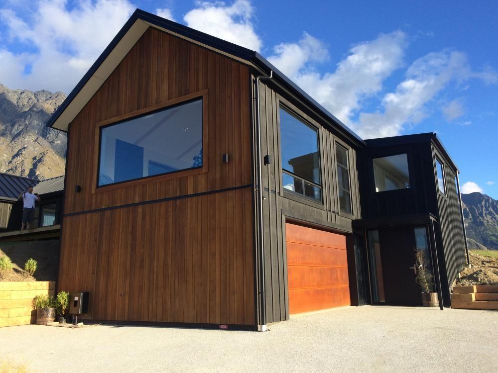 Corten Steel Garage Door, Rusted Steel, Cedar, Black Ply