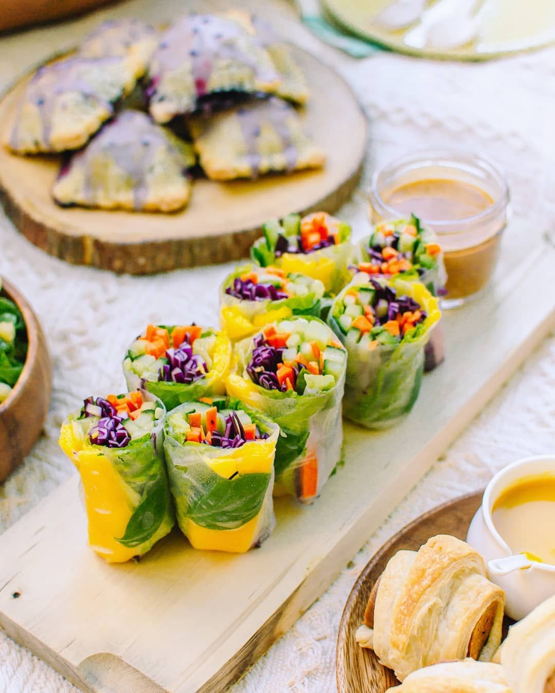 Mango Basil Summer Rolls With Spicy Almond Butter Sauce