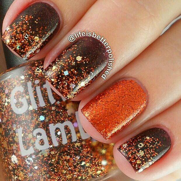 fall nail art with glitter
