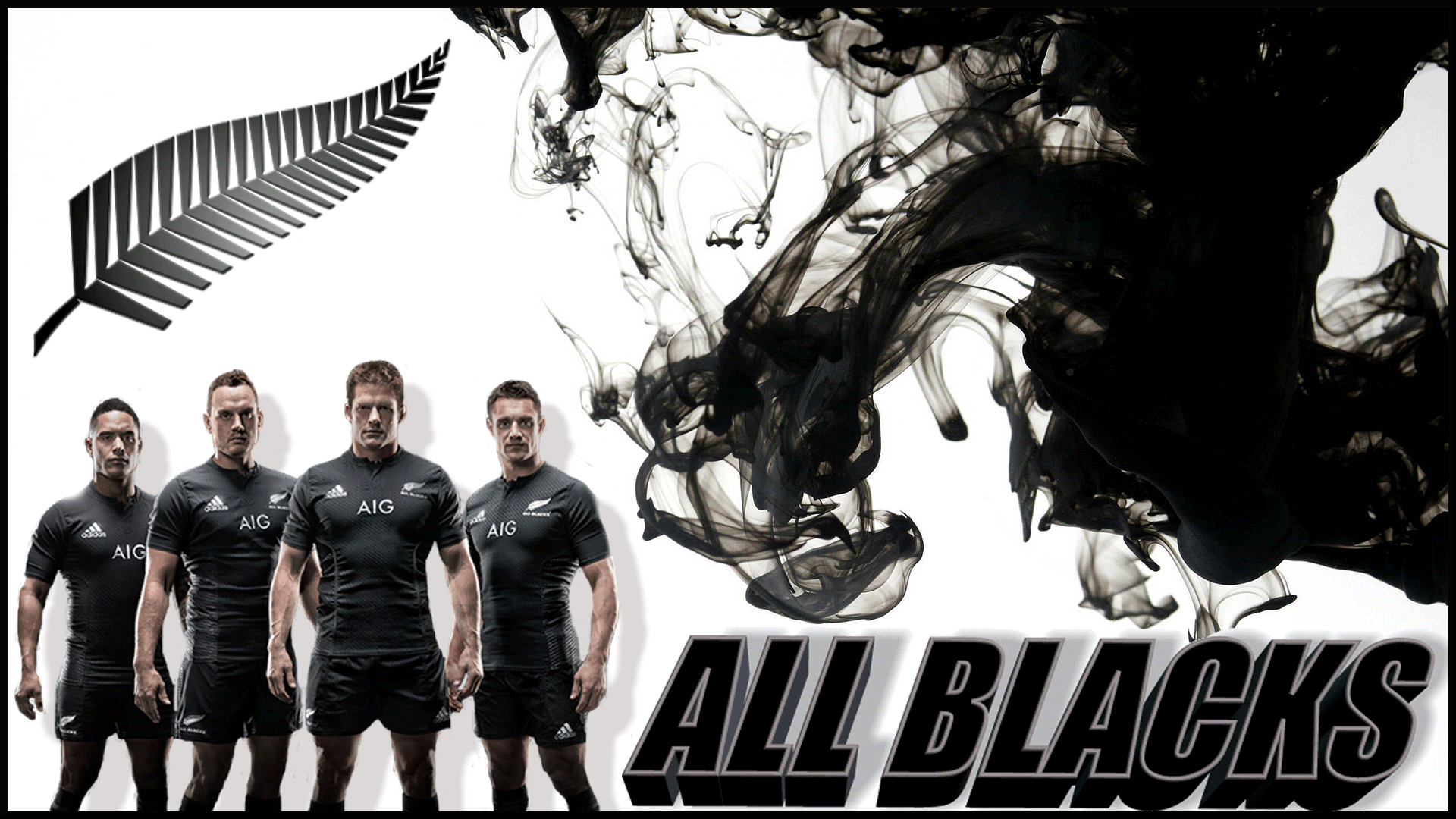 All Blacks Rugby Black And White Abstract Smoke Wallpaper Art