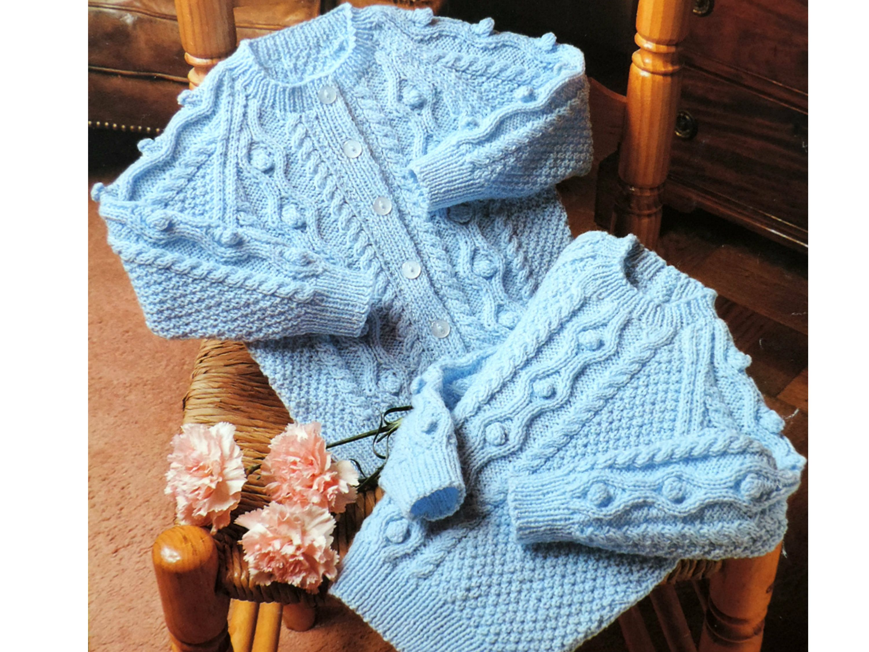Baby Knitting Pattern PDF, CABLE SWEATER/Jumper & Cardigan for Babies/Toddlers/Children/Boys/Girls