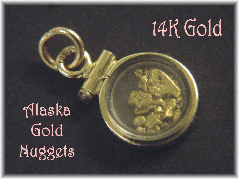 K gold pendant window locket k pure alaska gold nuggets