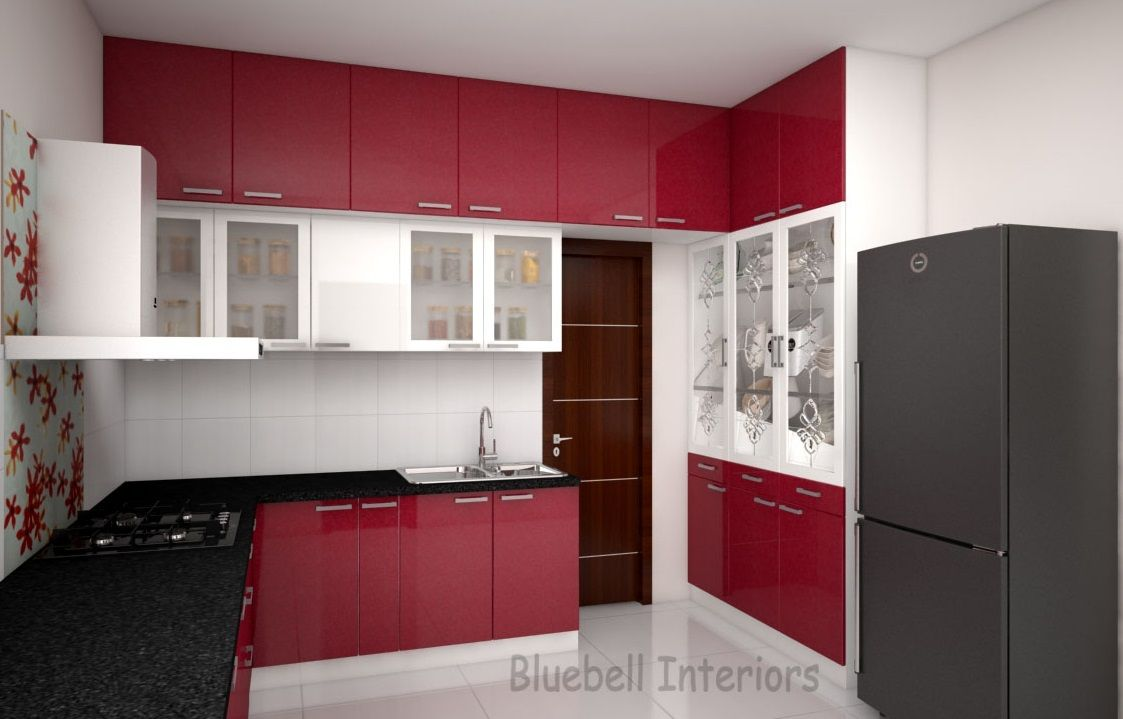 red & white kitchen, modular kitchen, loft storage, crockery unit
