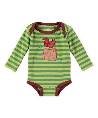 24895af1cb57  Squirrel  Long Sleeve Onesie in Green Striped.