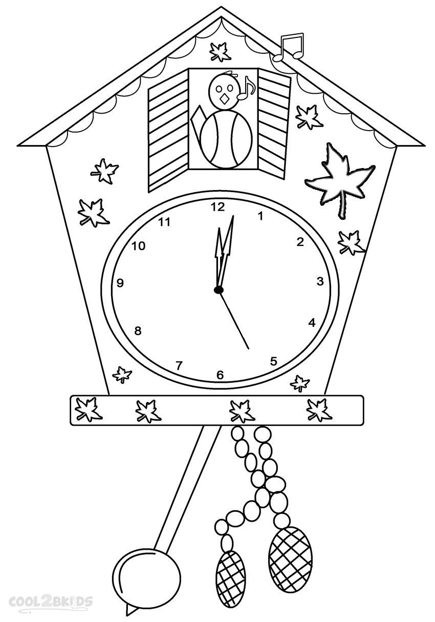 Printable Clock Coloring Pages For Kids Cool2bkids Miscellaneous