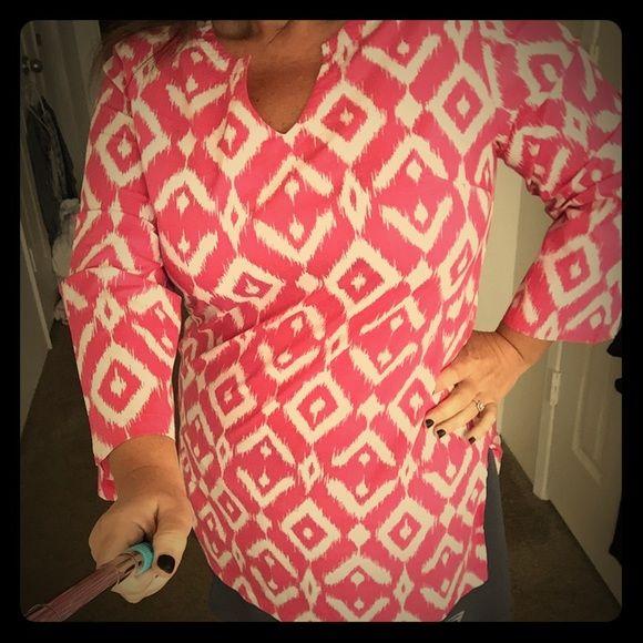 Tunic blouse Pink printed 3/4 sleeve tunic Tori Richard Tops Tunics