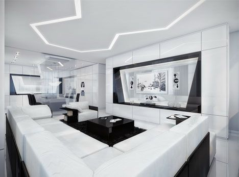 Minimalist Dream House: Black, White U0026 Awesome All Over, Futuristic Interior  Design,