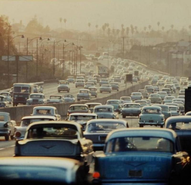 Los Angeles Traffic Jams In The 1950's!