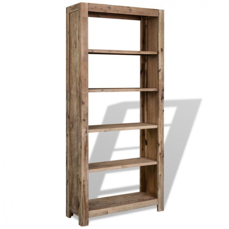 Tall Narrow Bookcase Solid Acacia Wood 5 Shelf Open Backed Shelving Display Unit Bookcase Bookcase Diy Rustic Bookcase