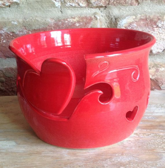 Valentines gift for your yarn lover! Yarn Bowl in red with Heart cut out yarn feed. by EarthWoolFire, £45.00