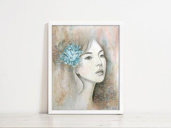 Melt - Original Mixed Media Portrait, Perfect Gift for Girl, Birthday, Wedding, Christmas, Art Lover, Frame Art, Home Decoration, Cafe,