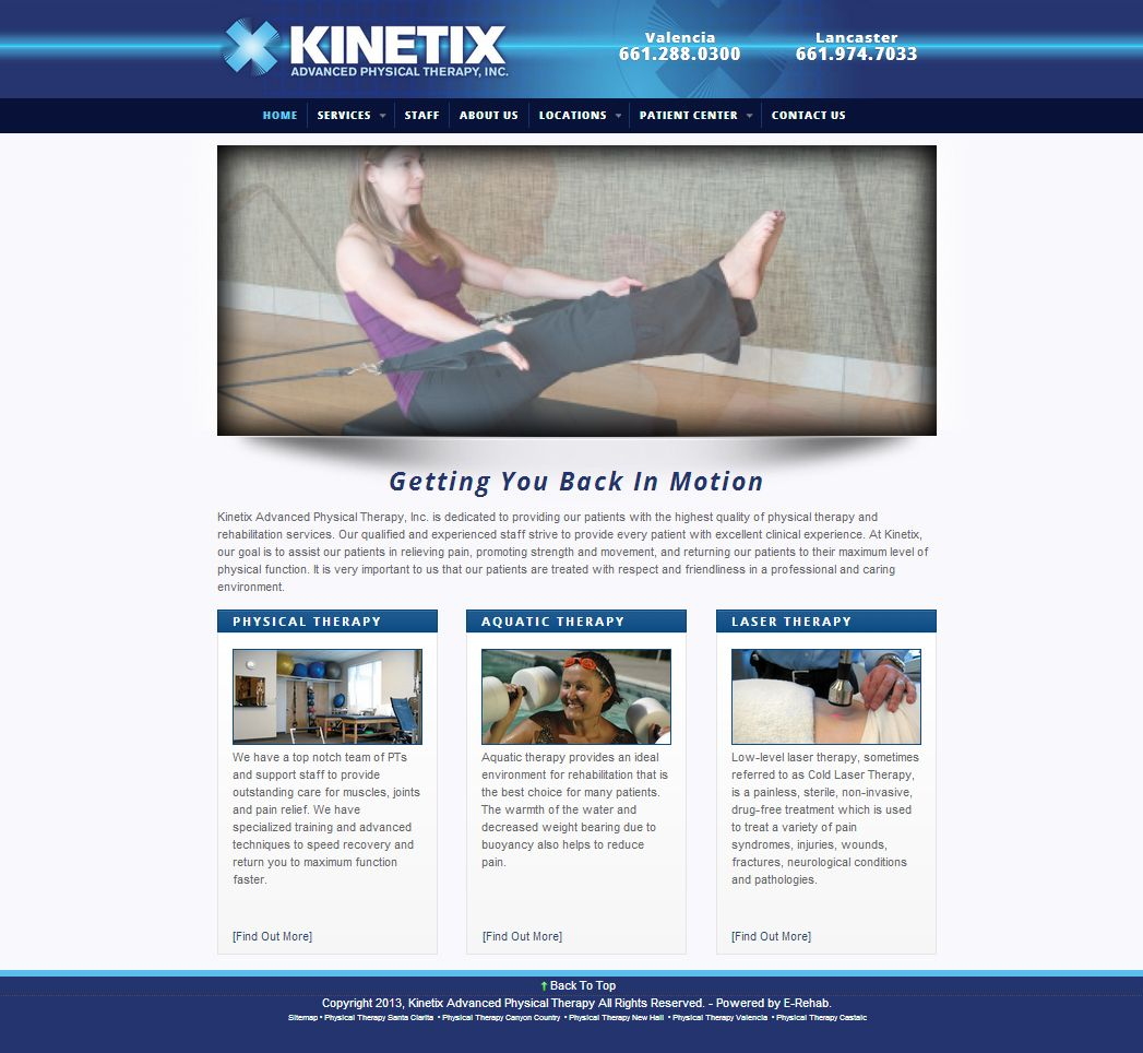 The Kinetix Website Uses Modern Design To Give This Client A Modern Feel The Design Effectively Uses White Sp Therapy Website Physical Therapy Aquatic Therapy