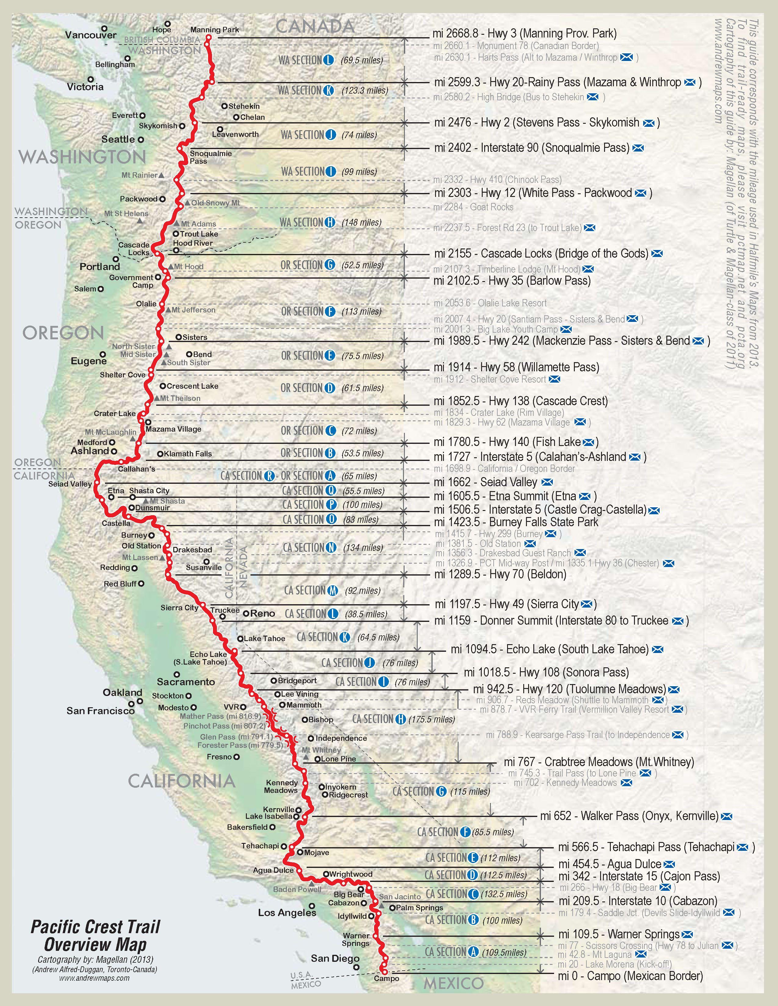 Pacific Crest Trail California Map
