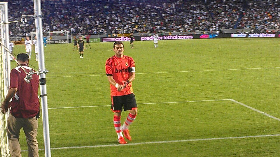 Real Madrid vs. LA Galaxy 2012  Had the best seats in the entire stadium! Front row right behind the net... Watching Iker Casillas (#1 goalkeeper) was amazing!!! he gave his gloves and shirt away right after this pix and he greeted everyone he could right before leaving the pitch... CLASS ACT!  Hala Madrid! (siempre!)