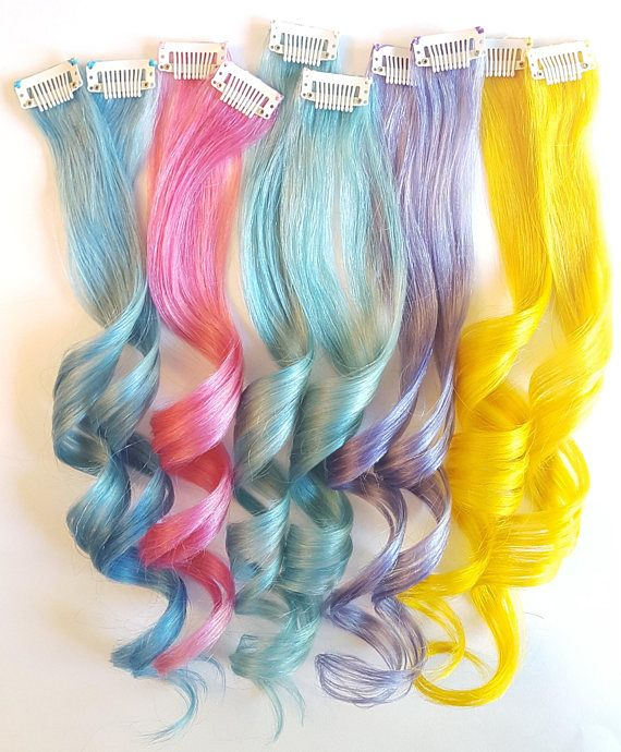 Clip In Hair Extensions Hair Extension Clip In Pastel Hair Mermaid Hair Unicorn Hair Ombre Hair Human Hair Extensions Baby Blue Hair Colored Hair Extensions Pastel Hair Hair Extensions