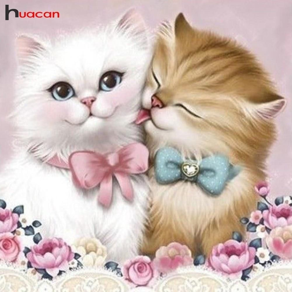 Kitty Love Diamond Painting Kit Dazzlecrafter Fluffy Kittens Cat Wall Art Animal Paintings