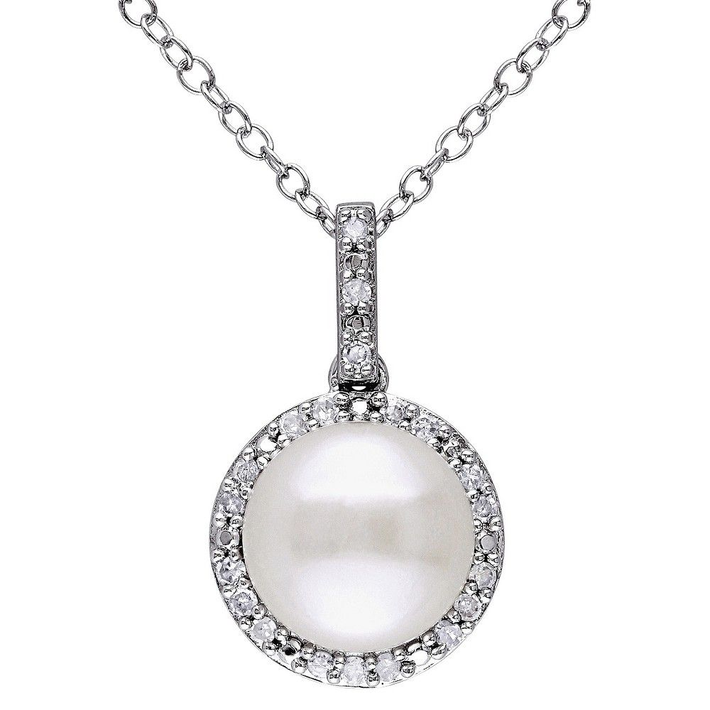 Allura 1/10 CT. T.W. Diamond and 9-9.5mm Freshwater Cultured Pearl Pendant Necklace in Sterling Silver, Women's, White