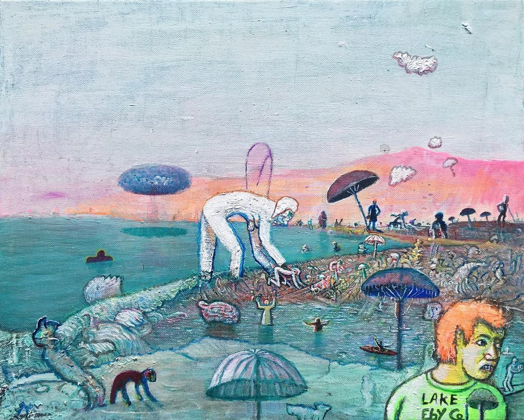 Strange day at the beach available at Moberg Gallery #beachart #lovewatts #artjobsmag #lowbrow #weirdart...