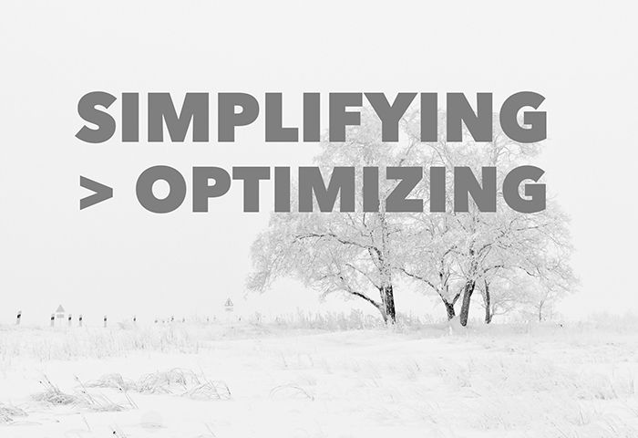 Optimizing is counterproductive. The more we try to optimize, the more we self-inflict stress and overwhelm. That's particularly true in the high-stakes world of finance.