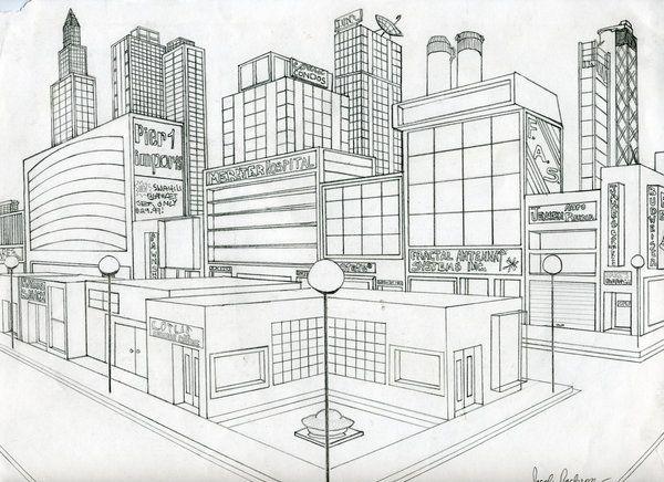 2 point city perspective perspektive kunst perspektive zeichnen perspektive. Black Bedroom Furniture Sets. Home Design Ideas