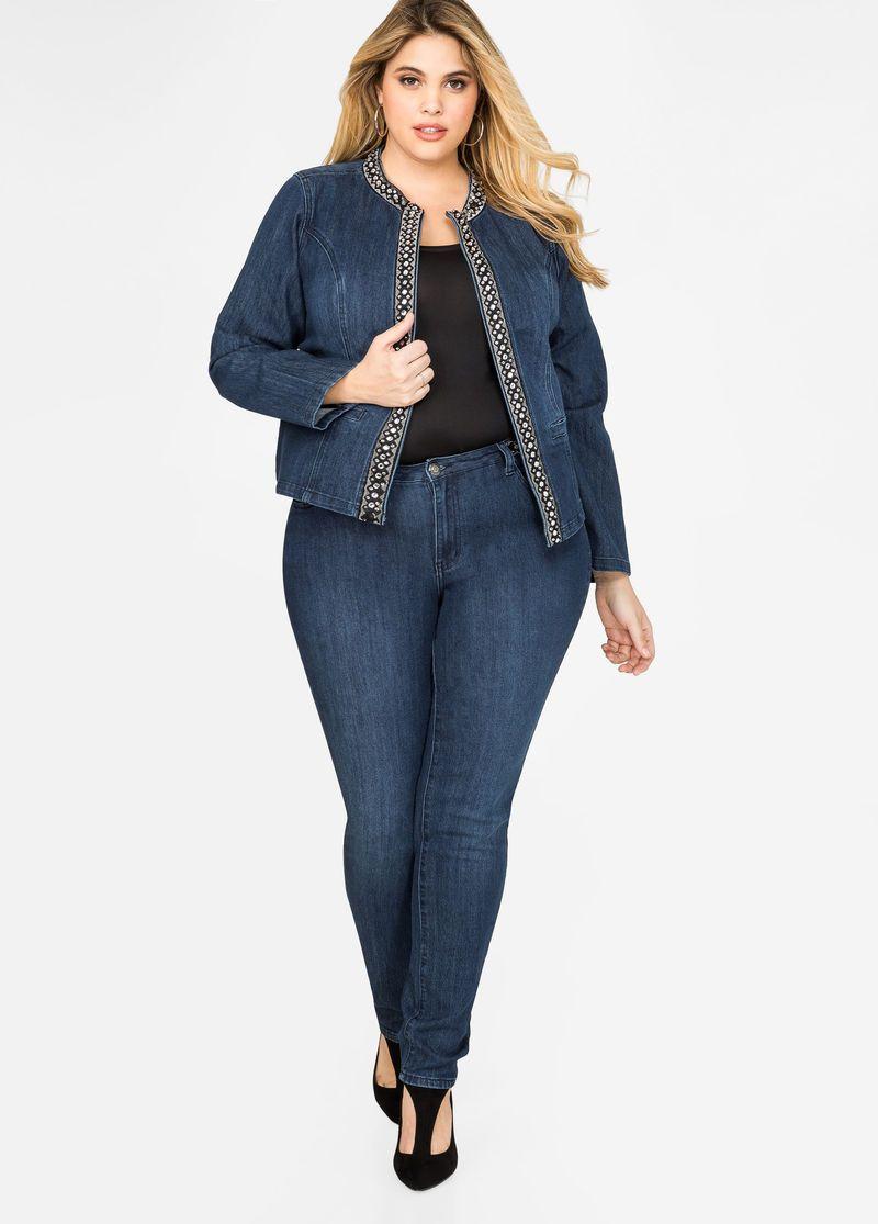 1f9e28bb99c Rhinestone Trim Skinny Jean Rhinestone Trim Skinny Jean Plus Size Jeans