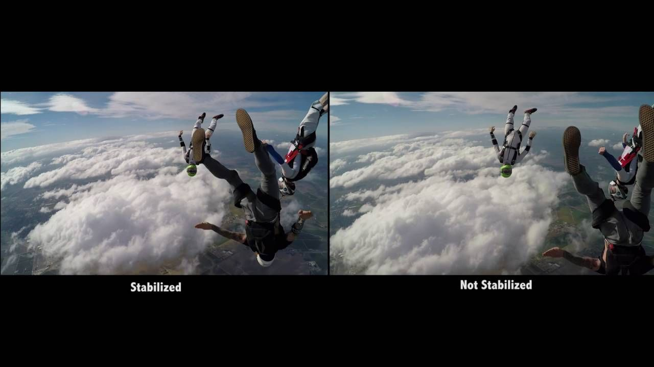 GoPro Hero5 Skydiving+Video Stabilization Comparison