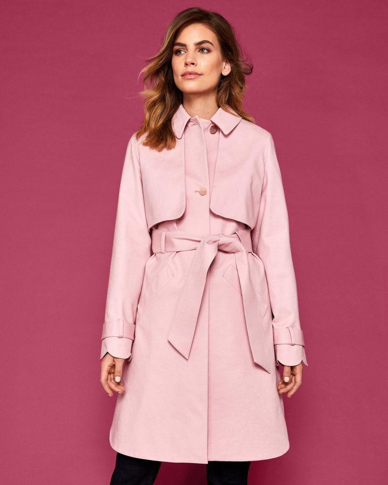a1f3b27a1a34 Scallop detail cotton mac - Pink