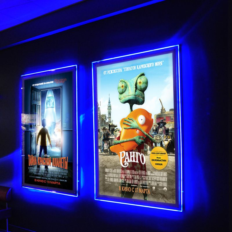 ultra thin acrylic frameless led illuminated movie poster