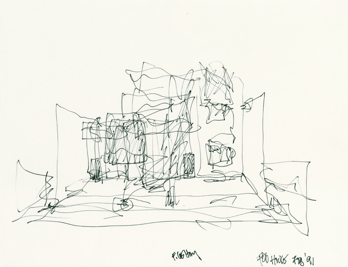 Frank Gehry's sketch of Gehry Residence, Santa Monica
