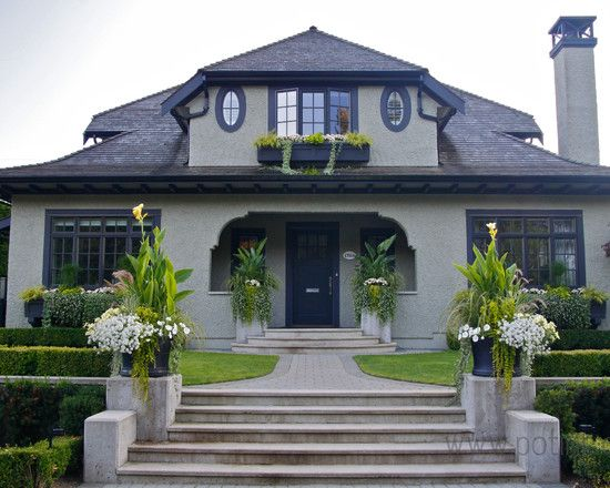 Grey Stucco And Black Trim Beautiful Windows For A