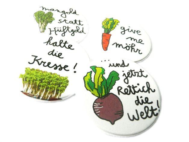 Gemüse Quartett, Button-Set, 38mm   Lustig illustration