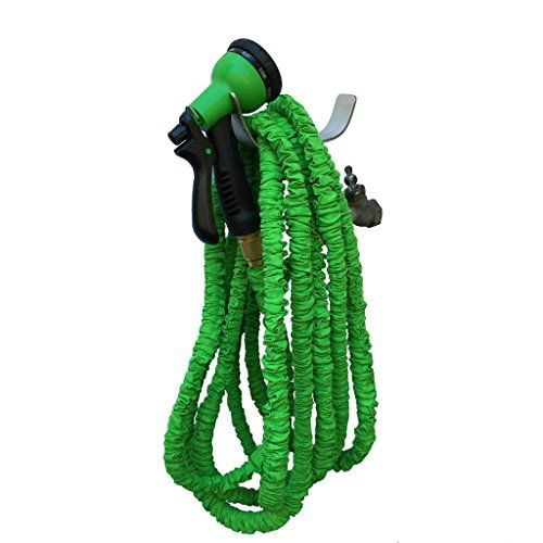 100 Foot Expandable Garden Hose, Strongest Expanding Garden Hose. Solid Brass Fittings, Patented Stainless Steel Holder, Double Latex Core, Toughest Nylon Fabric, Spray Nozzle  The strongest, tidiest, best designed expandable garden hose you can own. It includes the most innovative hose holder (pat. pend.) on the market. Most hose hangers are poorly designed leaving your garden hose dragging on the ground. Our adjustable stainless steel hose holder lifts the garden hose up and cradle..
