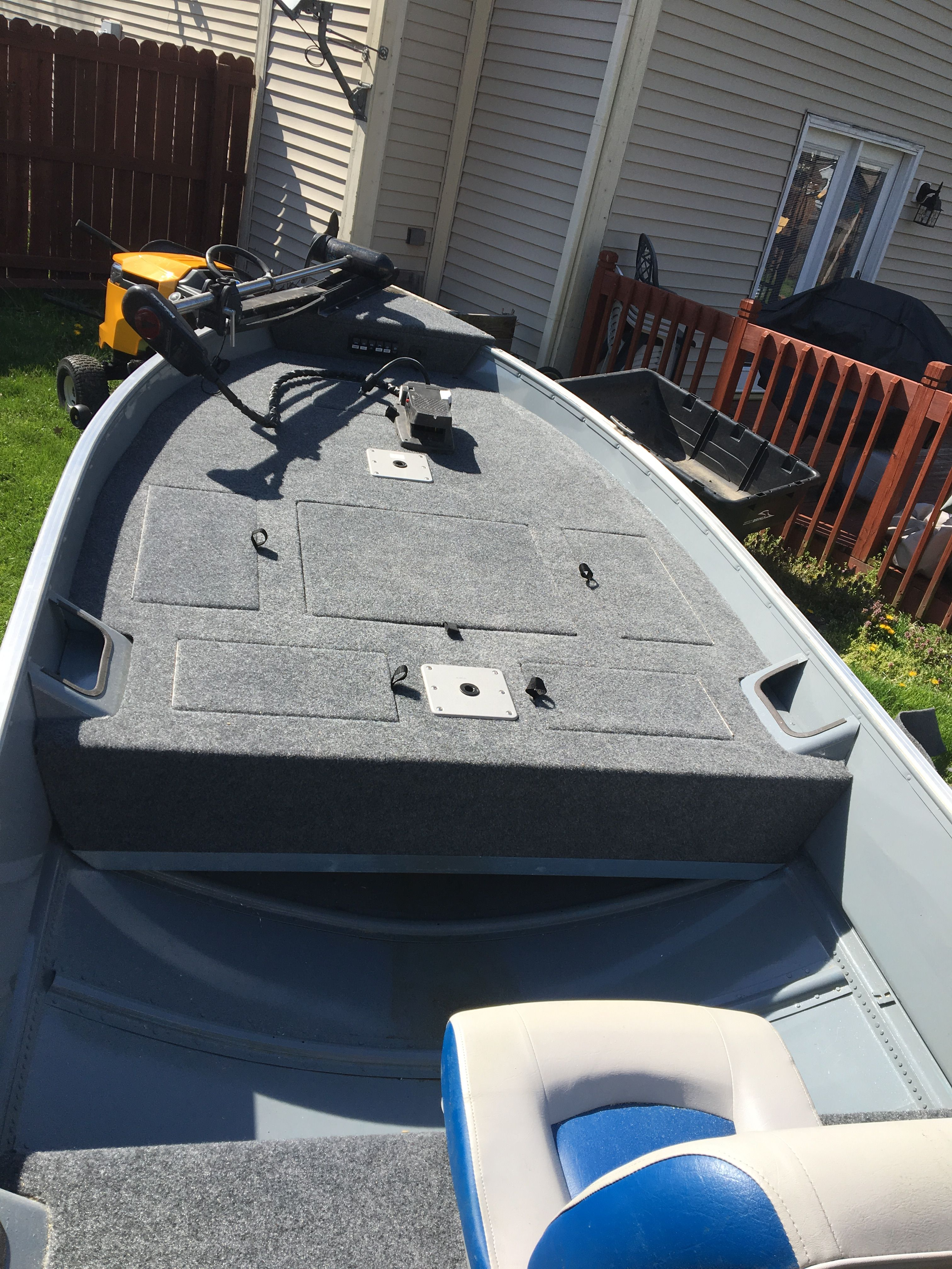 Custom made casting deck out of 34 plywood bass boat