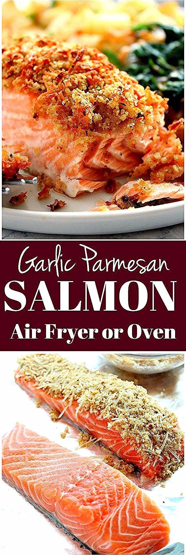 Garlic Parmesan Crusted Salmon Recipe (Oven and Air Fryer version) #garlicparmesanshrimp