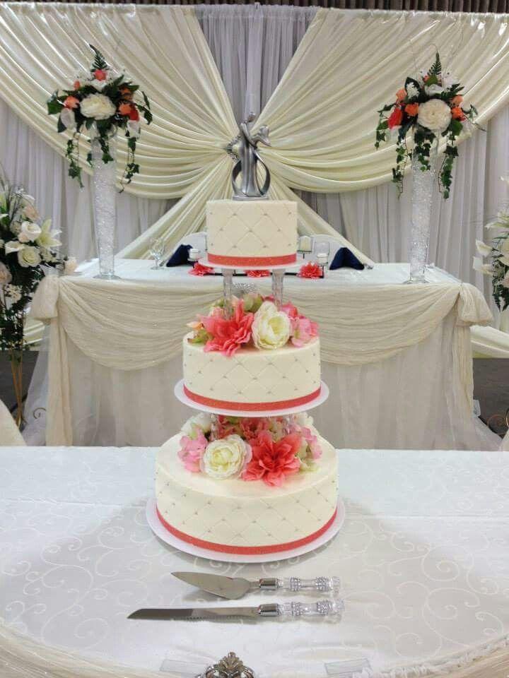 3 Tier Wedding Cake With Pillars C Ribbon And Silk Flowers Www