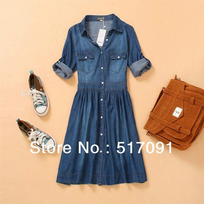 Free shpping spring summer washed denim dress women clothing pleated retro plus size dress western style casual long maxi dress