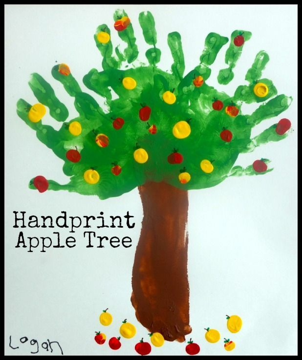 Handprint Apple Tree Fun Fall Art Project For Kids She Brooke