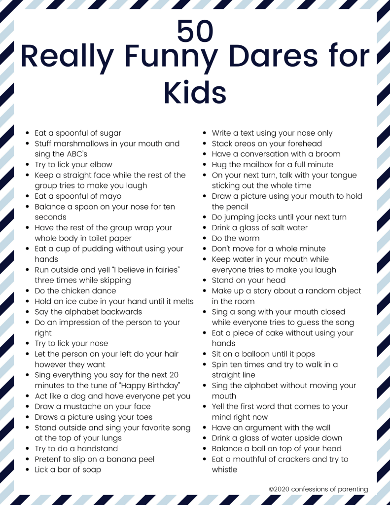 50+ Really Funny Dares for Kids - Confessions of P