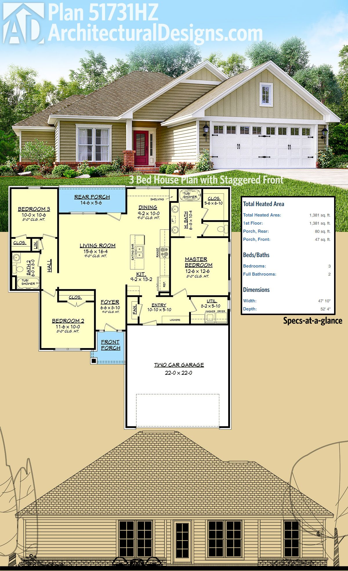 Architectural designs 3 bed house plan 51731hz has a dynamic staggered front and a covered porch in back under 1400 square feet of heated living space