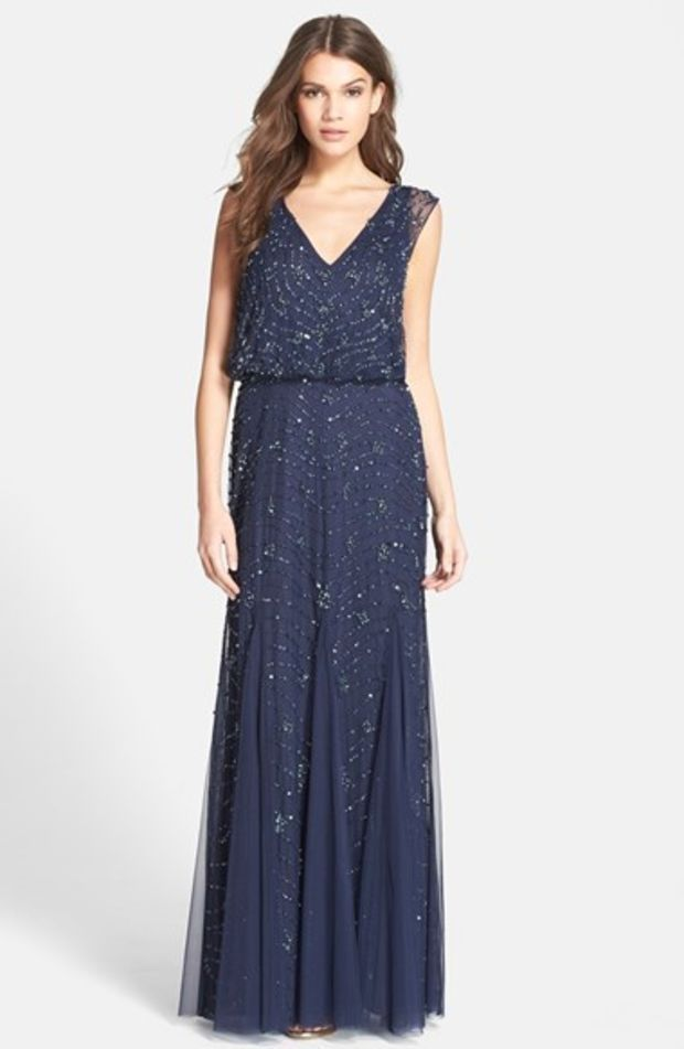 Aidan Mattox Embellished Lace Blouson Gown NAVY SIZE 8 #184 NWT ...